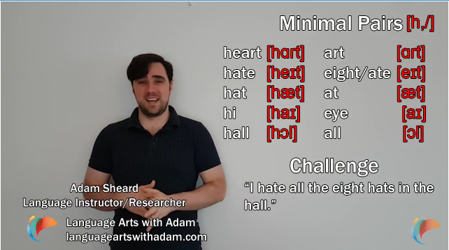 English Pronunciation Exercises: minimal pairs [h,/], hat/at, heart